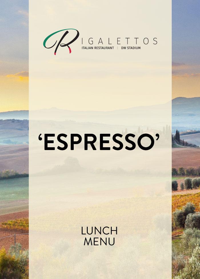 Rigalettos Espresso Menu