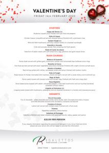 Rigalettos Valentines Day Menu